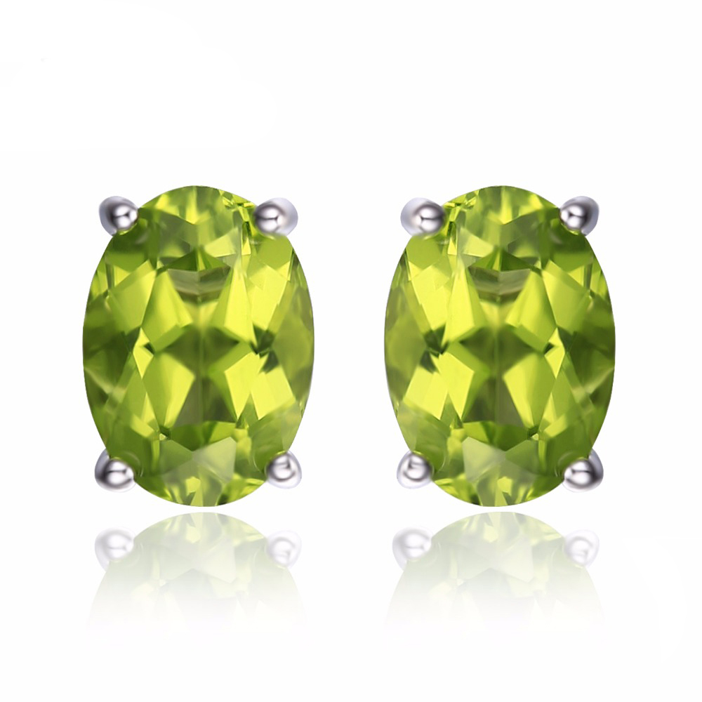 Image Is Loading 1 78 Ctw Oval Green Peridot Stud Earrings