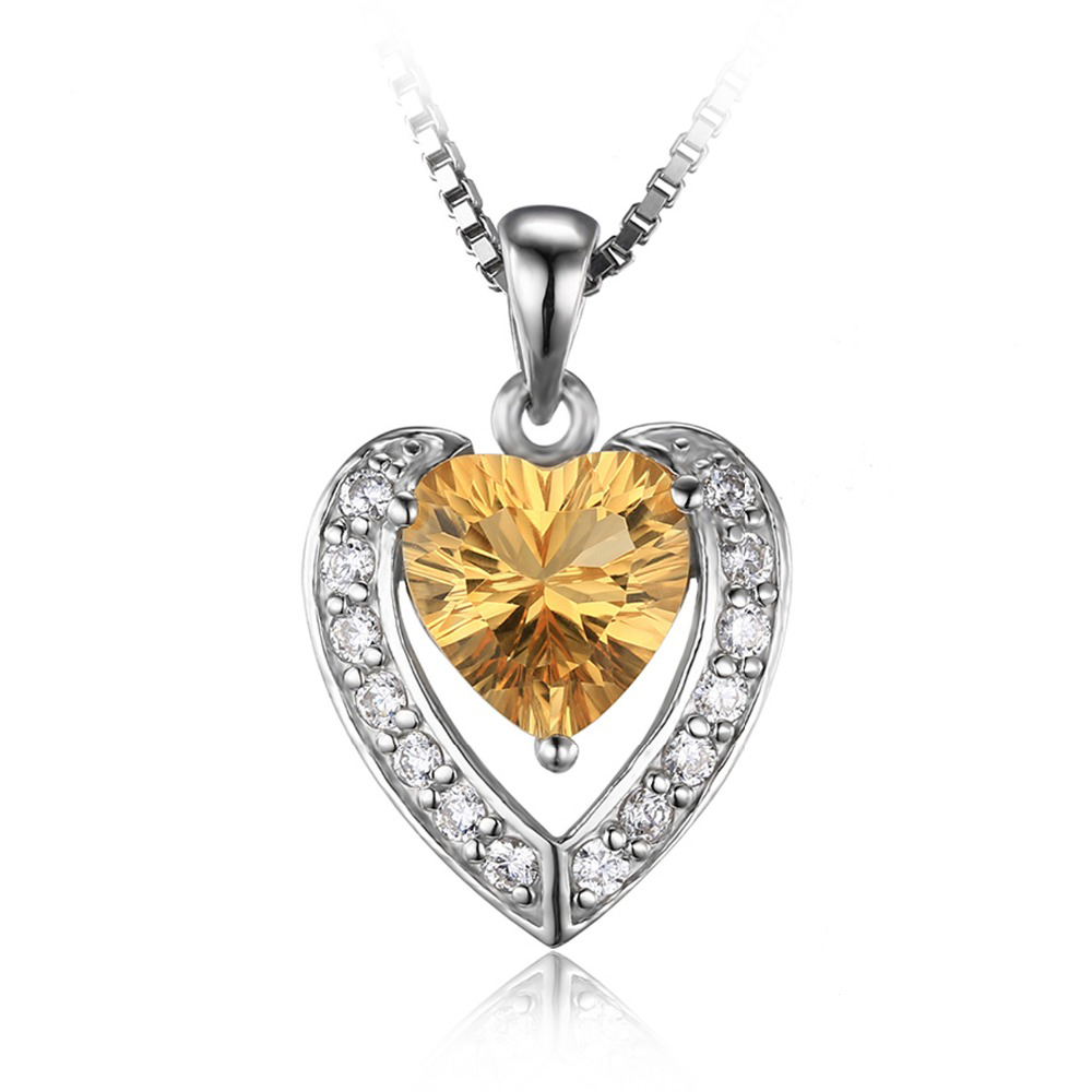 292 ct round yellow citrine heart pendant necklace 925 sterling image is loading 2 92 ct round yellow citrine heart pendant mozeypictures Image collections