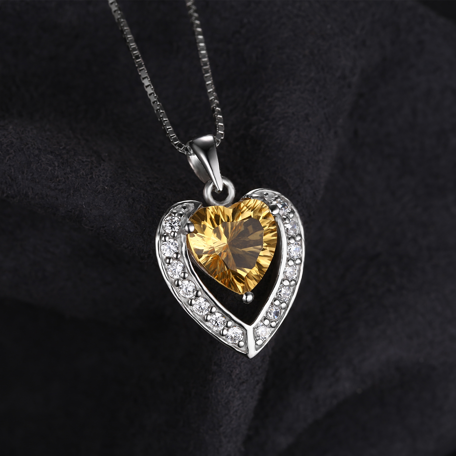 292 ct round yellow citrine heart pendant necklace 925 sterling 2 92 ct round yellow citrine heart pendant mozeypictures Image collections
